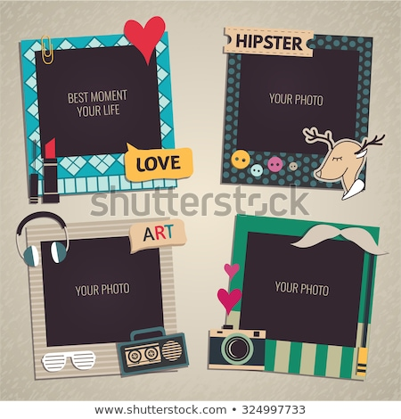 Kid Girl Scrapbook Pictures Illustration Stock photo © lenm
