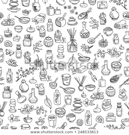 massage hand drawn doodles seamless pattern spa therapy background stock photo © balabolka