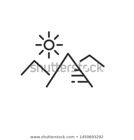 Stock photo: mountains and sun flat linear icon in black and white colors. Line vector icon for websites and mobi