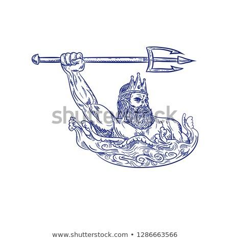 Poseidon Wielding Trident Drawing  Stock photo © patrimonio