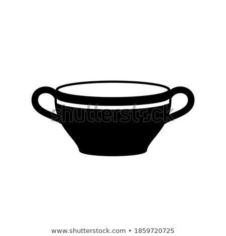 Mély fehér tányér leves izolált étel Stock fotó © bborriss