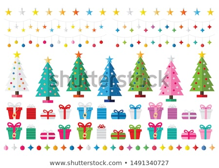 pink and teal christmas cards vector set stock photo © beaubelle