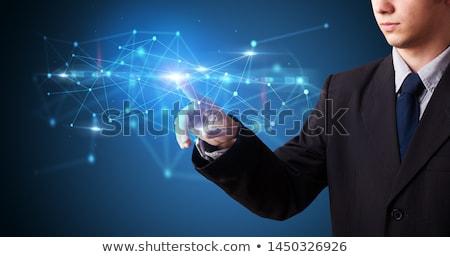 Man aanraken hologram veiligheid symbool scherm Stockfoto © ra2studio