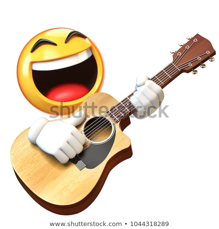 Emoji character emotion acoustic guitar musical instrument Stock photo © rogistok