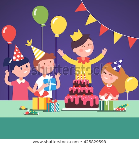 Children birthday party flat design style vector illustration Stock photo © Decorwithme