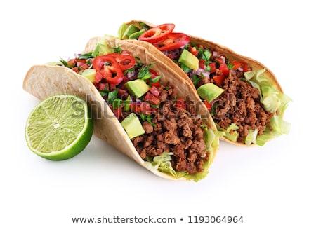 Meksika tacos ayarlamak et sebze tortilla Stok fotoğraf © karandaev