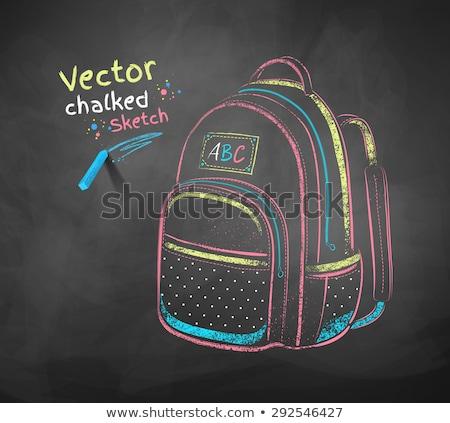 Color chalk drawn illustration of school bag Stock photo © Sonya_illustrations