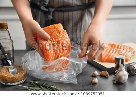 女性 食べ 自然食品 新鮮な シーフード レシピ ストックフォト © dashapetrenko