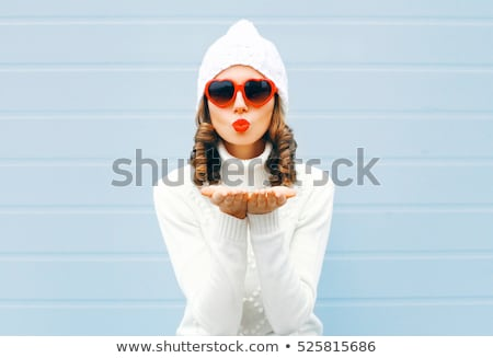 red haired teenage girl in heart-shaped sunglasses Stock photo © dolgachov