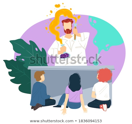 chemistry lesson kid looking at experiment vector stock photo © robuart
