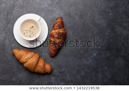 круассаны Кубок кофе белый деревянный стол утра Сток-фото © katya_sorokopudo