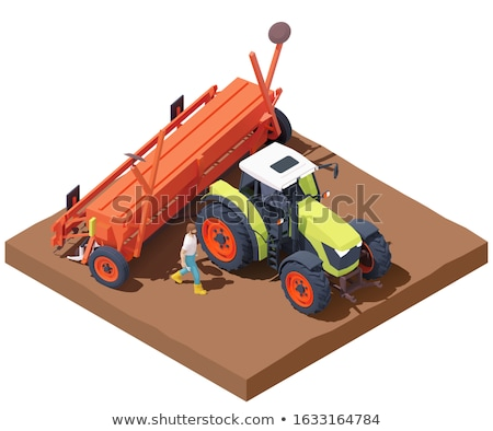 Vector isometric tractor with seed drill Stock photo © tele52