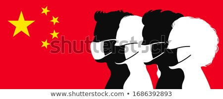 silhouette of group people wearing medical masks on flag of chi stock photo © margolana