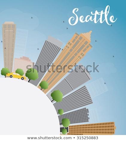 Seattle szary budynków Błękitne niebo kopia przestrzeń Zdjęcia stock © ShustrikS
