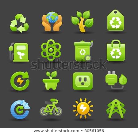 Ekologia energii ze źródeł odnawialnych ikona czyste wektora pliku Zdjęcia stock © Palsur