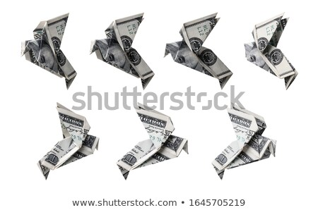 Origami set of one hundred dollar banknotes in the form of a bird in different angles Stock photo © butenkow