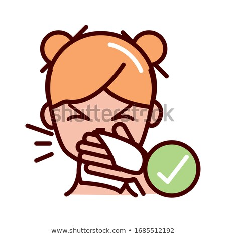 Cough in tissue covering nose and mouth when coughing as COVID-19 hygiene guidelines for coronavirus Stock photo © Maridav