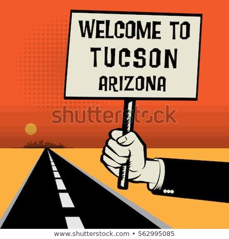 Arizona autópálya tábla zöld USA felhő utca Stock fotó © kbuntu
