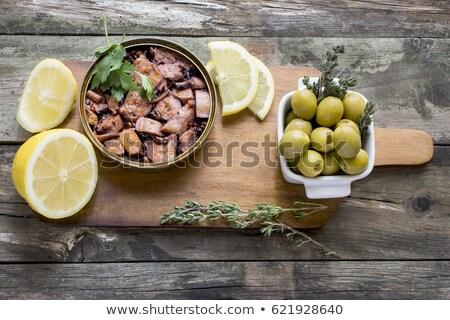 Dobozos polip háttér fehér étel fokhagyma Stock fotó © FOKA