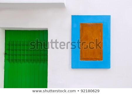 白い家 詳細 緑 ドア 青 ウィンドウ ストックフォト © lunamarina