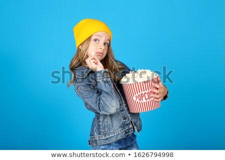 kız · yeme · patlamış · mısır · güzel · genç · kız · gıda - stok fotoğraf © lightkeeper