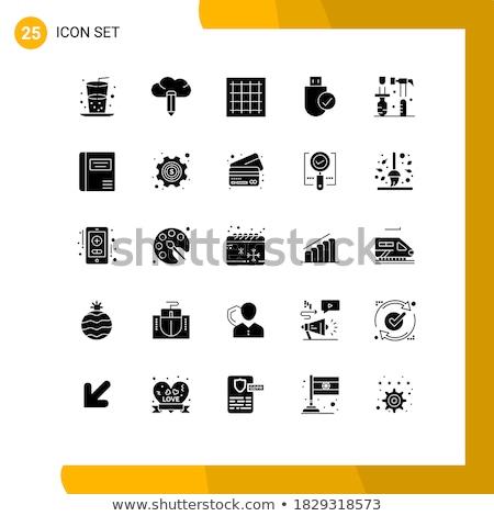 tabletta · processzor · egyszerű · ikon · fehér · üzlet - stock fotó © tele52