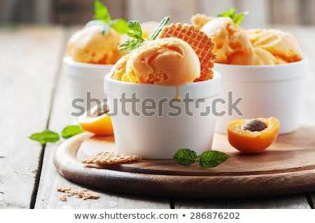 dessert with apricot and cream Stock photo © M-studio