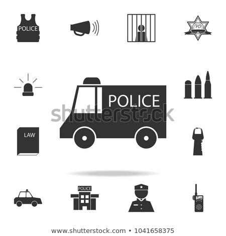 policía · van · icono · botón · diseno - foto stock © lkeskinen