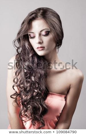 bright purple eye evening make up beautiful woman portrait stock photo © elmiko