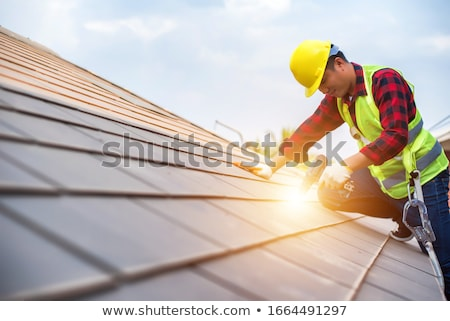 Roofer holding tiles Stock photo © photography33