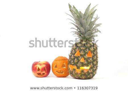 ki · zöldségek · halloween · arcok · citromsárga · zöld - stock fotó © KonArt
