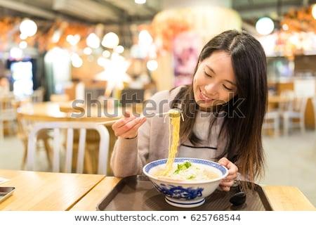 девушки · еды · красивой · азиатских · платье - Сток-фото © carlodapino