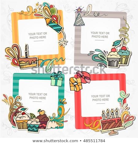 Stok fotoğraf: Doğum · günü · çerçeve · vektör · karikatür · komik