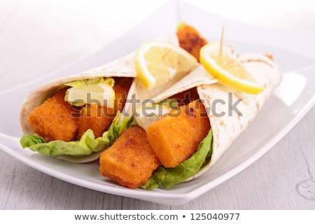 Fajitas salata gıda tavuk et kahvaltı Stok fotoğraf © M-studio