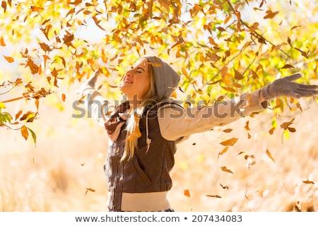 kız · düşmek · orman · güzel · genç · moda - stok fotoğraf © Studiotrebuchet