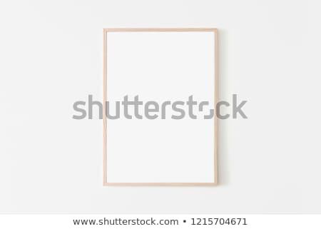 Cadre en bois blanche mur fond meubles rétro Photo stock © Marcogovel