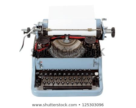 Retro Uncovered Blue Typewriter Zdjęcia stock © Artush