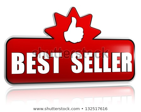 best seller and thumb up sign in 3d red banner with star Stock photo © marinini