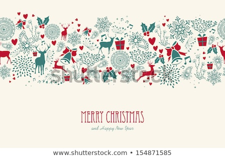 Vintage Christmas elements seamless pattern background. EPS10 fi Stock photo © cienpies