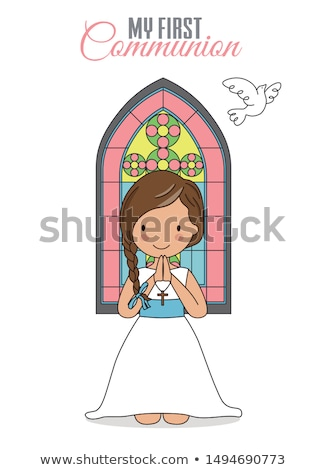 Girl praying in the church stock photo © mirc3a