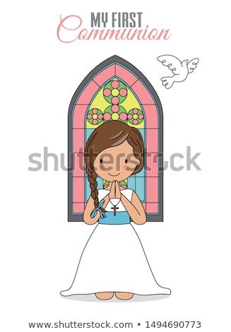 Lány imádkozik templom kép kéz nők Stock fotó © mirc3a