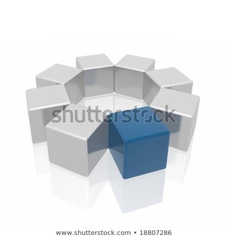 3D · kék · fogaskerék · ikon · fehér · technológia - stock fotó © marinini