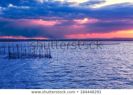 Photo stock: Coucher · du · soleil · lac · parc · Valence · Espagne · coloré