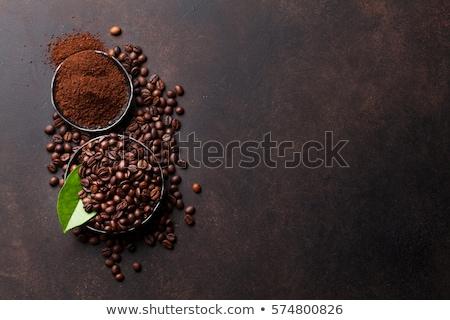 Kahve çekirdeği zemin beyaz kaşık kahve Stok fotoğraf © Tagore75