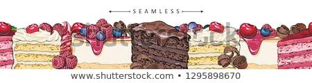 торт черно белые иллюстрация книга трава счастливым Сток-фото © blackberryjelly