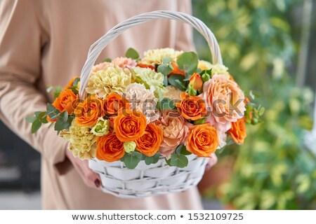 плетеный цветы два белый весны оранжевый Сток-фото © manera
