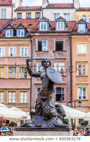Sereia estátua Varsóvia cidade velha praça Polônia Foto stock © FER737NG