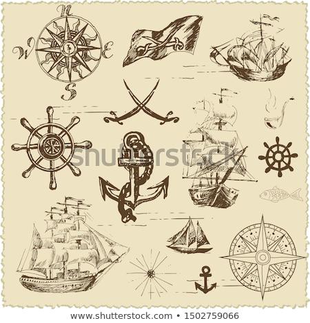 eski · korsan · gemi · yelkencilik · okyanus · gün · batımı - stok fotoğraf © cherezoff