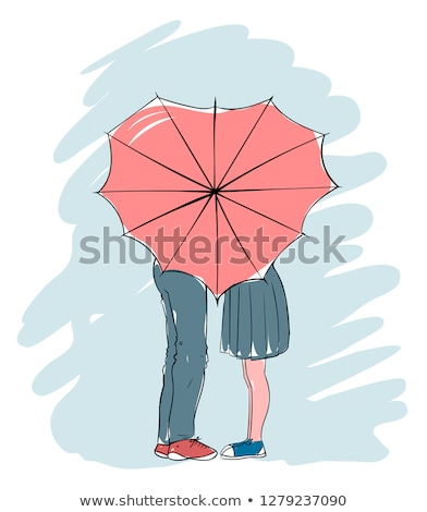 целоваться пару зонтик женщину девушки книга Сток-фото © leonido