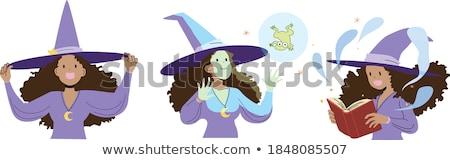лягушка книга заклинание Cartoon иллюстрация вектора Сток-фото © derocz